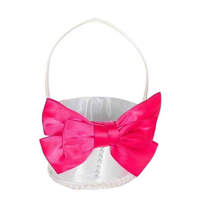 Generic White & Pink Virtual Matt Satin Flower Girls' Basket