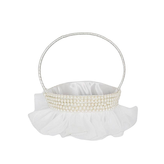 Generic White With Pearls Flower Girl Basket