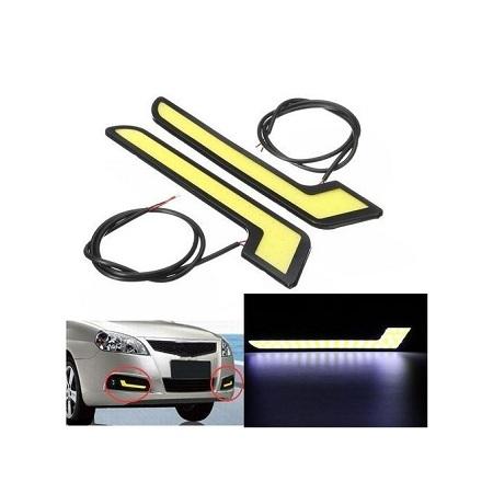 Generic 401145596402 2x White Car LED Daytime Running Light DRL COB Strip Lamp Fog Lamp 12V DC