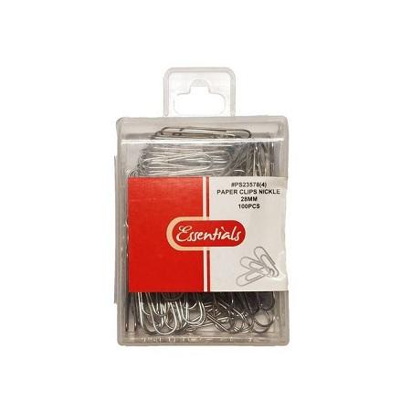 Essentials 28MM Paper Clips Nickel - 100 PCS