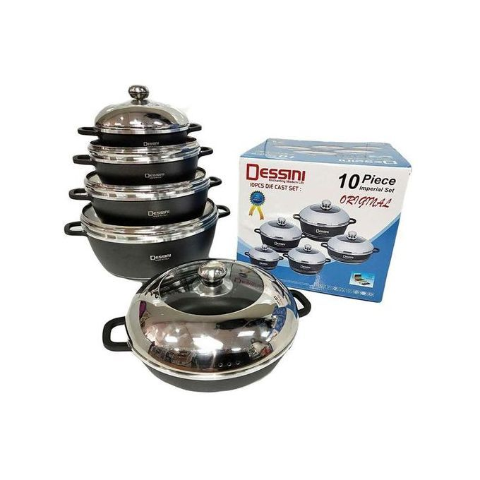 Dessini 10 Pieces Non Stick Cookware Set/sufuria