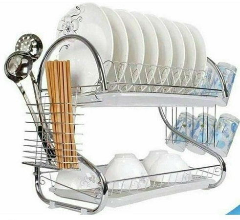 UNIVERSAL Stainless Steel Dish Rack 2 Tier - Space Saver Dish Drainer Drying Holder Sliver