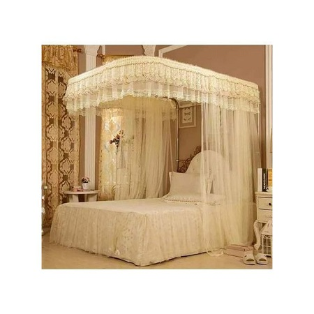 Fashion 2 Stand Mosquito Net with Sliding Rail 5 by 6 - Cream