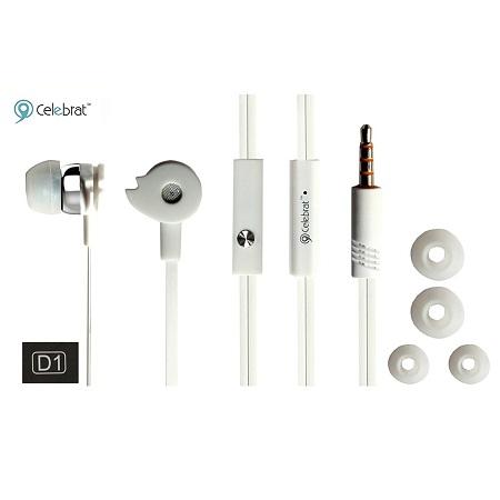 CELEBRAT D1 SLEEK DEEP BASS EARPHONES WITH MIC (D1 WHITE)