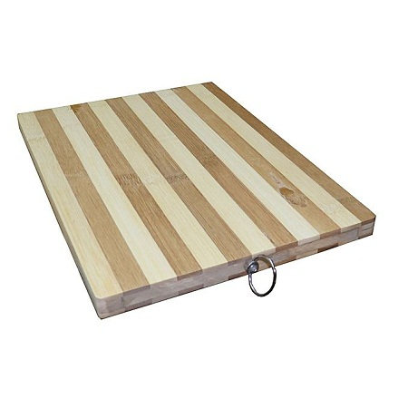 Generic Wooden Bamboo Chopping Board Stripped 32 x 22 cm - Brown