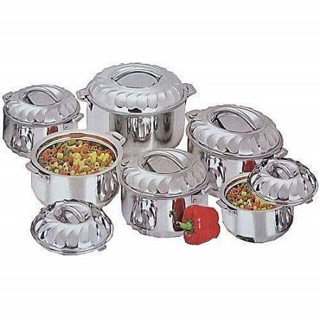 Generic 6 Piece Stainless Steel Server Hot Pots Set Casserole -Silver