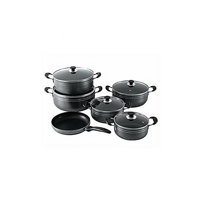 Generic 11 Piece SEAMAN-Non-Stick Pots & Pans-Black