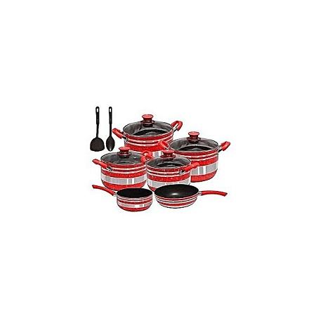 Generic Non Stick Cooking Pots & Pans - 13 Pieces - Red