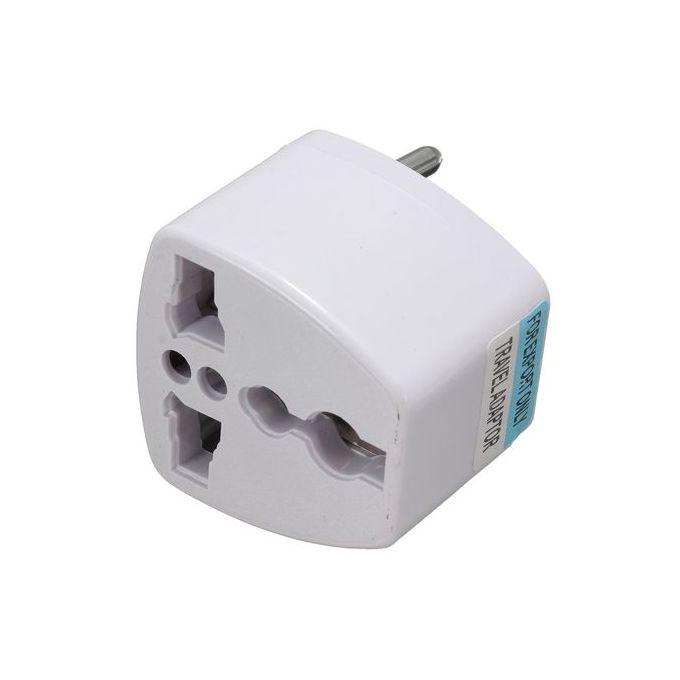 Fashion AS Universal Power 2 Pins Travel Converter Adaptor Charger Plug - White