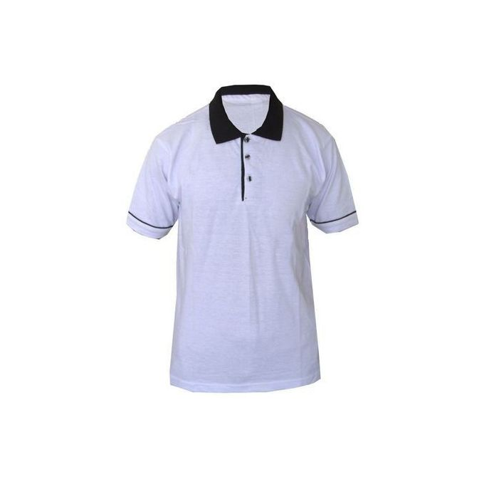 Fashion Golf Polo Shirt - White & Black