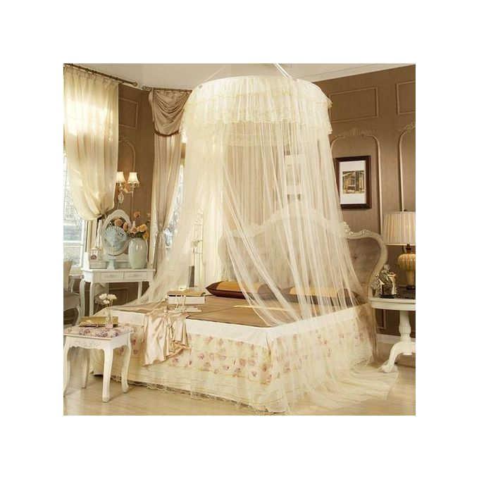 Fashion Round Mosquito Net Free Size For Double Decker And All Types Of Beds - Cream