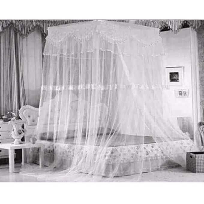 Fashion Square Top Mosquito Net Free Size For Double Decker And All Types Of Beds - White