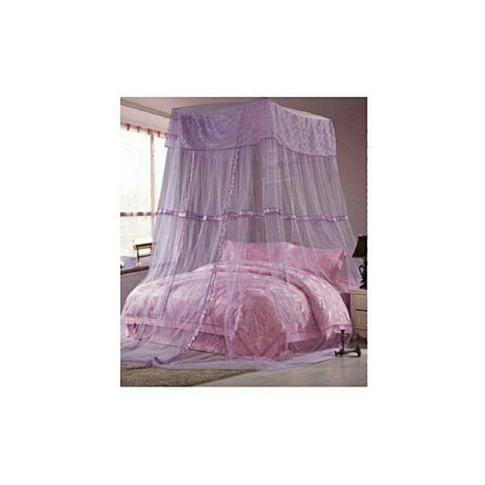 Fashion Square Top Mosquito Net Free Size For Double Decker And All Types Of Beds - Purple