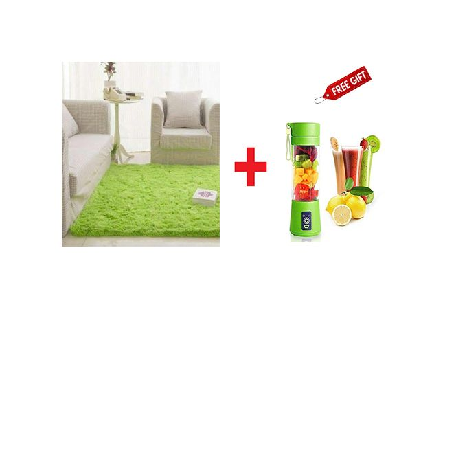 Generic Fluffy Smooth Carpet 5 By 8 Free Blender - Green