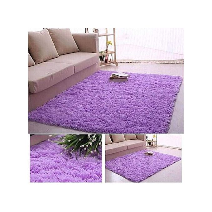 Generic Fluffy Smooth Carpet 5 by 8 - Purple