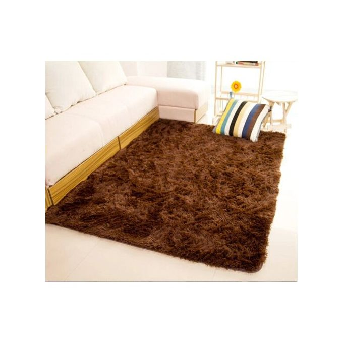 Generic Fluffy Smooth Carpet For Living Room 5 by 8 - Coffee Brown
