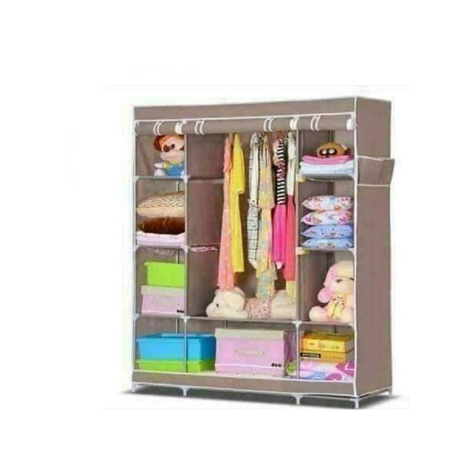 Generic Portable Wardrobe - 3 Columns - 130*170*45 - Brown