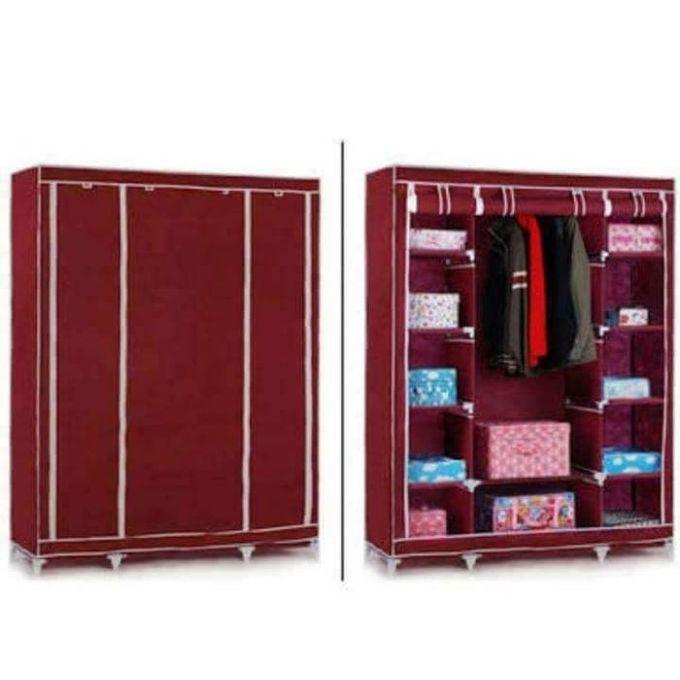 Generic Portable Wardrobe - 3 Columns - 130*170*45 - Red