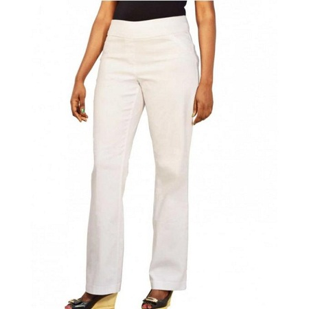 Forever Young White Straight Leg Pull on Classic Pants