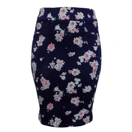 Forever Young Navy Blue Floral Print Pencil Skirt
