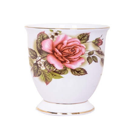 Bone china pink and green shapely cup1
