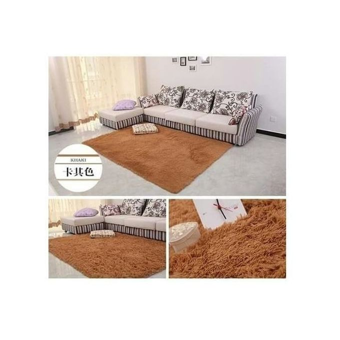 Generic Fluffy Carpet - Soft and comfortable - Brown 5 by 8