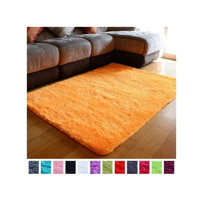 Generic Fluffy Smooth Carpet For Living Room 5 by 8 - Orange