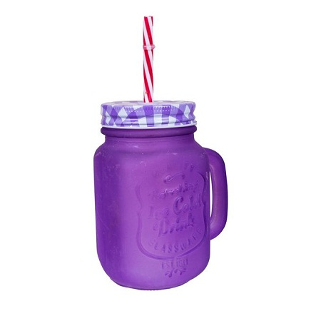 Mason Jar With Handle, Cover & Reusable Straw