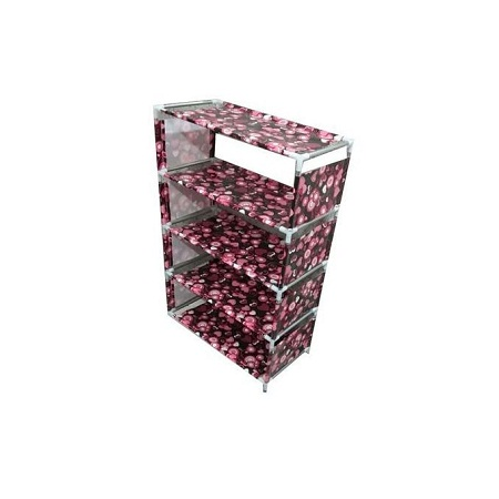 5 Tier Shoe Rack With Dustproof Cover Closet Shoe Storage Cabinet Organizer - Maroon