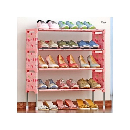 5 Tiers Shoe Rack With Dustproof Cover Closet Shoe Storage Cabinet Organizer - Pink