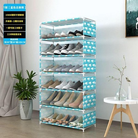 7 Tiers Shoe Rack With Dustproof Cover Closet Shoe Storage Cabinet Organizer - Blue