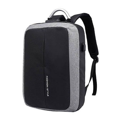 USB Charging/Earphones Ports Anti Theft Backpack Waterproof Smart Backpack with Coded Lock - Grey