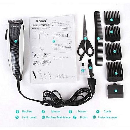 KM-651- Professional Electric Hair Clipper Hair Shaver - White & Black