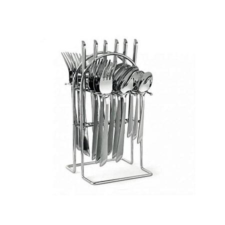 Generic 24 pcs Stainless Steel Cutlery Set Cutlery + Rack.