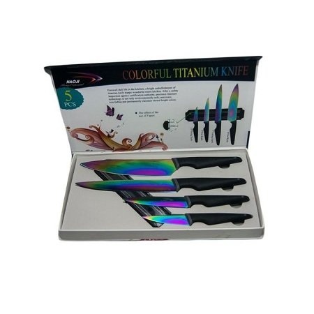 Generic Titanium Kitchen Knife Set With Magnetic Board - 5 Pieces-multicolour