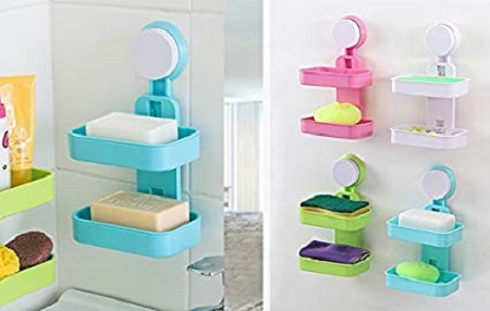 Double Layer Soap Box With Suction Cup Holder