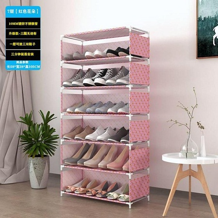 7 Tiers Shoe Rack With Dustproof Cover Closet Shoe Storage Cabinet Organizer - Pink