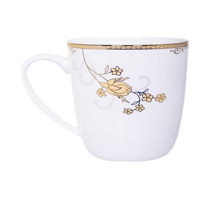Bone china shiny gold rose cup1