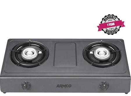 ARMCO GC-8265P2 - 2 Burner Tabletop Gas Cooker, NON-STICK, FREE 2M Pipe, Black.