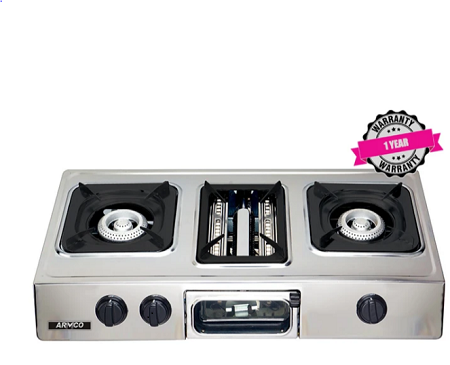 ARMCO GC-8350P2 - 2 Burner Tabletop Gas Cooker, (1 WOK) + Grill, FREE 2M Pipe, Stainless Steel.