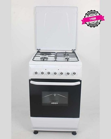 ARMCO GC-F5531FX(WW) - 3Gas, 1 Electric (RAPID), 50x50 Gas Cooker, Mechanical Timer, White