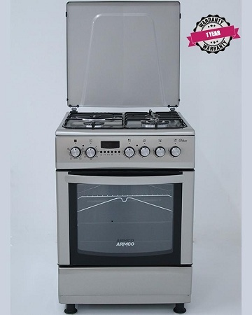 ARMCO GC-F6631HX2(SS) -3 Multi Gas Burners (1WOK), 1 Electric, 60x60 Gas Cooker, Digital Timer.
