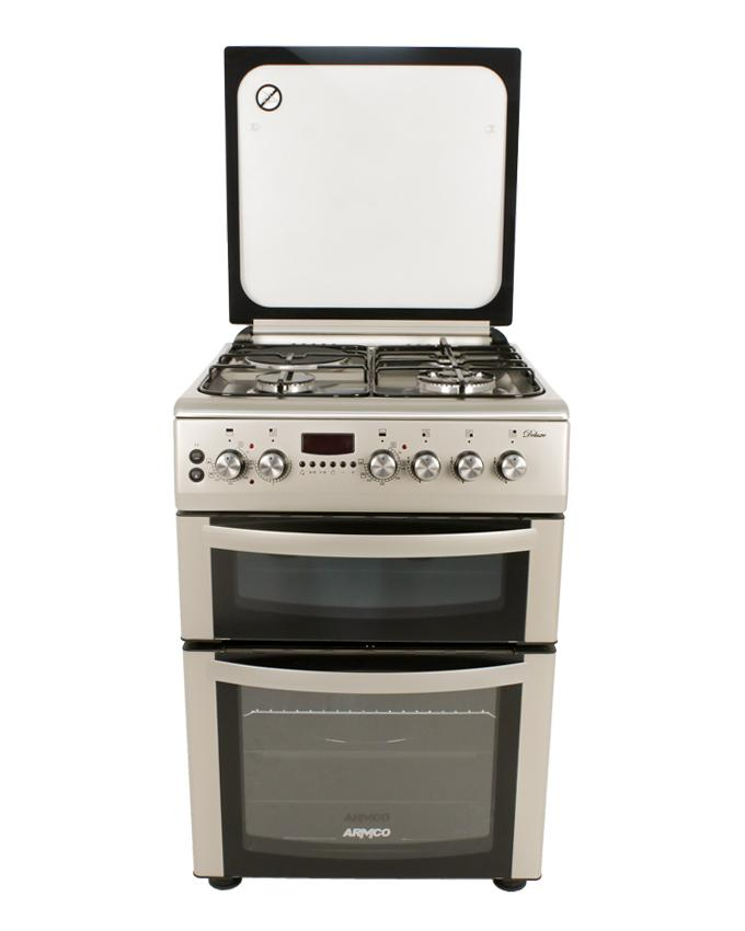 ARMCO GC-F6631LX2D2(SS) - 3 Gas(1 WOK), 1 Electric, 60x60 Double Oven Gas Cooker, Stainless Steel.