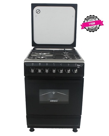 ARMCO GC-F6631QX(BK) 3 Gas + 1 Electric, 60x60 Gas Cooker, Mechanical Timer, Tempered Glass Lid