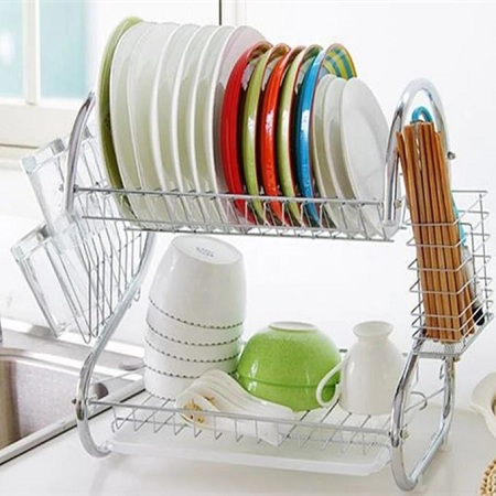 Generic 2tier Stainless Stee Dish Rack - Silver