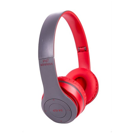 P47 Wireless Foldable Bluetooth Headphones Stereo, TF card slot ,Red