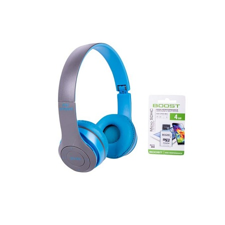 P47 Wireless Foldable Bluetooth Headphones Stereo, headset TF card Mic slot,Blue With Free 4GB Memory