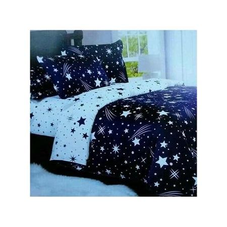 1 Duvet, 1 Bedsheet, 2 Pillowcases - Blue & White with Star Print