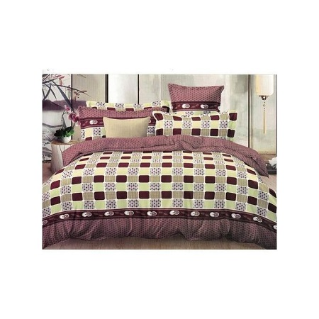 Checked Cotton Bedding Set- 1 Duvet and Bed sheet with 2 pillow cases