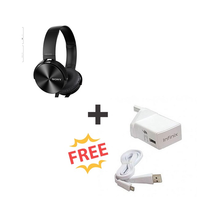 Sony extra bass Wired headphones + free Infinix Charger